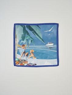 The gentleman's silk pocket–square by Princess Yachts in partnership with Thomas Pink. The pocket square features the specially commissioned illustration by Jaume Vilardell. A glamorous couple lounge by the pool, with their Project 31 yacht moored in the distance - the first model produced by Princess 50 years ago.