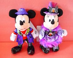 Tokyo Disneyland Disney Halloween Mickey Minnie Plush Badge Chain set Japan New…