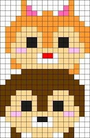 This would be a great template if you want to create a tsum tsum Chip & Dale perler beads.-Nanis