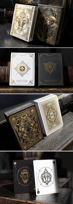 Dominus Playing Cards by Nicolai Aarøe 2 limited ed. decks with deluxe feature… Dominus Playing Cards by Nicolai Aarøe 2 limited ed. decks with deluxe features and gold foiled, embossed tucks. II in the 'Light vs. Cool Playing Cards, Playing Card Box, Playing Card Games, Playing Card Design, Box Design, Game Design, Bicycle Cards, Deck Of Cards, Card Deck
