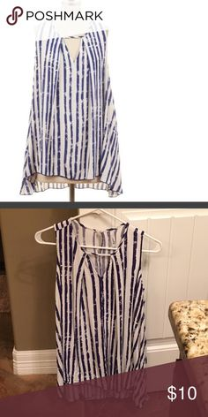 Women's Sleeveless Tunic Top Sz Med Women's sleeveless blue and white Tunic top. Size medium and material is 100% rayon.  Purchased from Betsy Boos Boutique.  Excellent condition. Tops Tunics