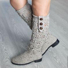 Обувь ручной работы. Ярмарка Мастеров - ручная работа. Купить Сапоги осенние Твидовые. Handmade. Бежевый, вязаные сапожки