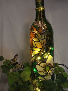 Butterfly Magnolia Wine Bottle Lamp by PaintingCreationsByD