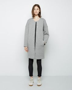 T by Alexander Wang  Cotton Neoprene Collarless Coat