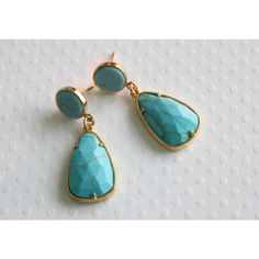 Turquoise Imitation Earrings, Dangle Earrings, Stud Dangle Earrings,... ($29) ❤ liked on Polyvore featuring jewelry and earrings