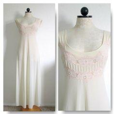 BLANCHE by RALPH MONTENERO Vintage Cream Long Full Length Nylon Nightgown- P