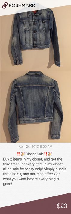 Buy 2 get 1 free! Guess Distressed Jean Jacket Size Small Distressed Guess Jean Jacket. Adorable on. Worn maybe three times. Clearing out my closet of everything I don't wear.  MUST BUNDLE THREE ITEMS AND MAKE OFFER SUBTRACTING THE LAST ONE Guess Jackets & Coats Jean Jackets