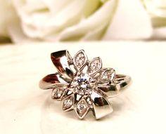 Unique Vintage Engagement Ring Ribbon & Bow Diamond Promise Ring 14K White Gold Vintage Diamond Wedding Ring Bridal Jewelry Size 6!