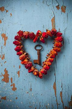 Roses & Key Heart