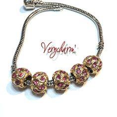 Perle doré avec perrre fine pour bracelet