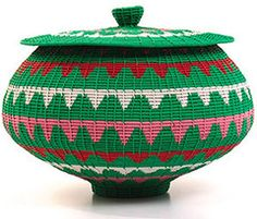 Woven Covered Coil Pot 9""