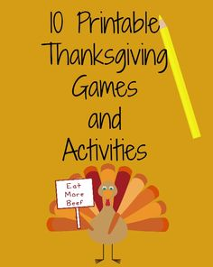 Printable Thanksgiving Games and Activities #printable #thanksgiving