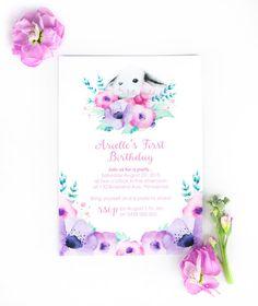 Bunny Invitation First Birthday Invitation for by BillyandScarlet