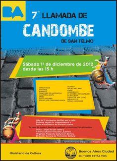 1/12 – LLAMADAS DE SAN TELMO!!  7º Llamada de Candombe de San Telmo  Sábado 1/12 a partir de las 15hs    Desfila la Comparsa Bantú a las 19:45!!!