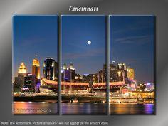 Framed Huge 3 Panel Canvas Art City Skyline Cincinnati Giclee Canvas Print  - Ready to Hang