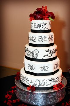 Black And Silver Cake | White Rose Bakery: Beautiful Black, White and Silver Wedding Cake