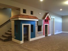 Basement Living Rooms, Basement House, Kids Basement, Basement Inspiration, Basement Makeover, Basement Remodeling, Cool Rooms, Play Houses, My Dream Home