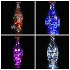 I handmade this Coca-Cola bottle light from a used bottle and various items that I purchased specially to create the unique design. The first step was to drill a round hole into the rear of the bottle using a… Glass Bottle Crafts, Glass Bottles, Bottle Art, Recycled Art, Recycled Glass, Coca Cola Bottles, Bottle Lights, Mason Jar Diy, Lamp Light