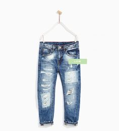 JEANS WITH RIPS AND PATCHES-JEANS-BOY | 4 - 14 years-KIDS | ZARA Hungary