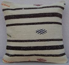 Vintage Turkish Kilim Rug Pillow Cover Hand woven Striped Neutral 16'' X 16''