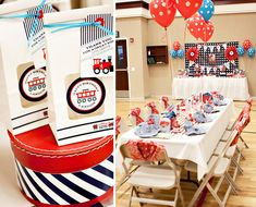 Train themed birthday party using Nashville Wraps window coffee bags. Click link above for the entire party.