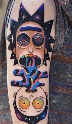 Best 40 Rick and Morty Fan Tattoos Fan Tattoo, Tattoo You, Ricks Tattoo, Daniel Tattoo, Rick And Morty Tattoo, Astronaut Tattoo, Music Station, Cartoon Tattoos, Dope Tattoos