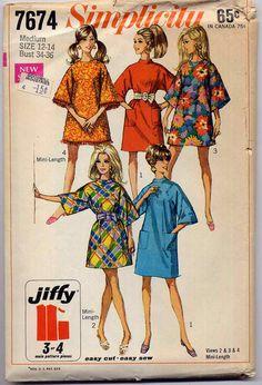 Simplicity 7674 Jiffy Boxy Mini Dress Mod Sewing Pattern Vintage 1960s Easy Vintage Pattern Size Medium. $8.95, via Etsy.