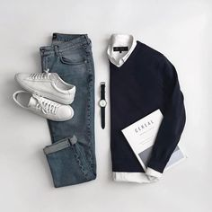Blues in this #Stylish Grid by @cantimagineit 🔻 Follow 👉 @stylishgridgame 👈 Tag 👉 #StylishGridGame 👈 🔻 💻www.StylishGridGame.com💻 🔻 Brands ⤵ 🔹️Sweater = #MassimoDutti 🔹️Shirt = #HouseOfFraser 🔹️Jeans = #VanDerLayck 🔹️Trainers = #OliverCabell 🔹️Watch = #PaulHewitt