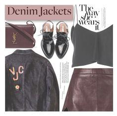 """Denim Jacket"" by aislinnhamilton1993 ❤ liked on Polyvore featuring Michelle Mason, Brandon Maxwell, Yves Saint Laurent, denim, Leather and jeanjackets"