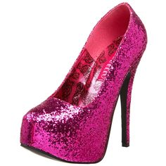 Fit: Half Size Small Heel Height: Approx. 5 3/4'' Tall. This high heel platform shoe has a glitter encrusted upper, a leather lining, and a rubber bottom. You go girl! Pleaser's Teeze delivers the goo