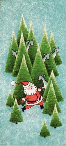 Vintage Christmas card with Santa, Christmas trees, and deer.