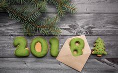 Indir duvar kağıdı Yeni Yıl, 2018 kavramlar, yeşil bisküvi, hamur işleri, Mutlu Yeni Yıl, xmas