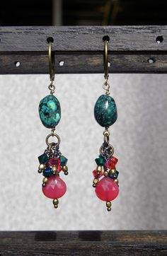 Mini fireworks crystal earrings, with turquoise and fuchsia dyed chalcedony.