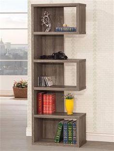 Grey Wood Bookcase