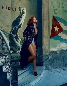Rihanna wears Giuseppe Zanotti Design LADY mule sandals for the November Issue of Vanity Fair.