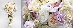 Cascade wedding bouquet of creamy roses and lavender alstroemeria