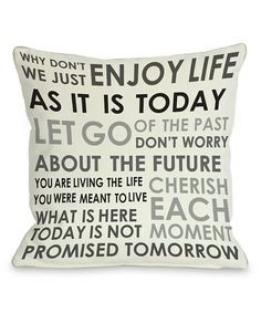 Loving this 'Enjoy Life' Pillow - Set of Two on #zulily! #zulilyfinds