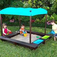 Sandbox play structure with water area