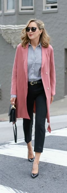 black tapered cropped pants, blue and white classic stripe dress shirt, blush trench coat, patent pointed toe pump, black shoulder bag, belt + sunglasses {everlane, j. crew, reiss, m2malletier}