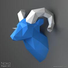 RAM cabeza trofeo - modelo de papercraft 3D. Plantilla descargable de DIY