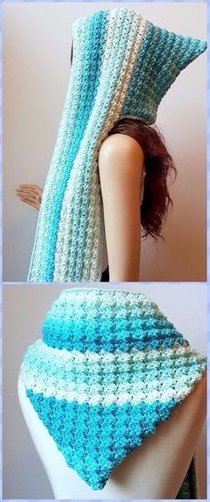 Crochet Faerie Mist Hooded Scarf Free Pattern - Crochet Hoodie Scarf Free Patterns