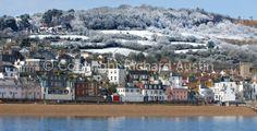 Snow on the hills Lyme Regis