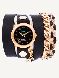Gold Circle case with Black Dial. Black leather strap with Gold Rivets. Black Magic-Vintage & Double Black Enameled Chain.