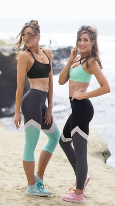 Cute new leggings by Valleau Apparel! Worn by Marissa & Meredith Daly . Mint and grey leggings with mesh insert.