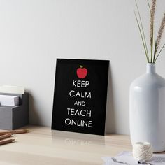 """This cute quote reads """"Keep Calm and Teach Online"""" will make teacher friends smile. Friends and family can wear this while they are making videos or lessons or social posts as part of being in school online. Great gift for friends, family and coworkers who take or teach classes online and participate in remote and distance learning. Click on the image to see this teacher gift idea on stickers, mugs, clothing and more. Teachers Day Gifts, Thank You Teacher Gifts, Friends Family, Gifts For Friends, School Volunteers, Volunteer Jobs, Teach Online, School Fundraisers, Teachers' Day"""