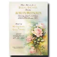 Watercolor Bridal Shower Invitation - Shabby Chic bridal shower, pink bridal shower invitation, Printable Invitation
