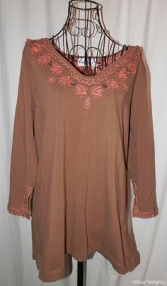CHICO'S TOP XL 3 Brown Knit Embroidery Sequins Vneck 3/4 Sleeve Casual #Chicos #KnitTop #Casual