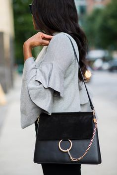 Layered bell sleeves with Chloe bag medium bag - via www.sanmarshall.com