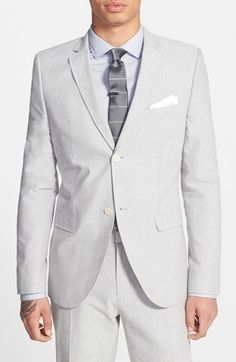 $77, Topman Grey Skinny Fit Oxford Suit Jacket. Sold by Nordstrom. Click for more info: https://lookastic.com/men/shop_items/202501/redirect