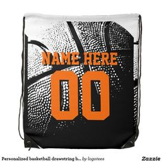 Shop Personalized basketball drawstring backpack bag created by logotees. Black Rope, Back To Black, Personalized Backpack, Personalized Gifts, Backpack Bags, Drawstring Backpack, Personalized Basketball, Pink Sparkly, Paper Supplies